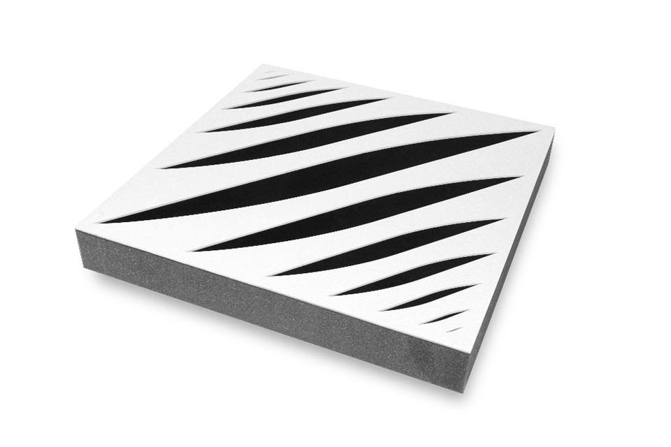 Polyester skum og perforeret hvid MDF front giver et flot visuelt udtryk til ethvert rum, samt absorbering i de mellem til høje frekvenser.