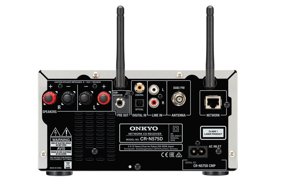 Onkyo CS-N575D stereo system, rear
