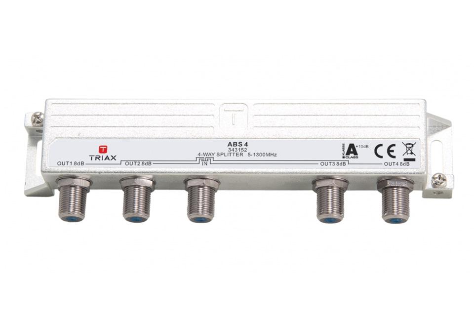 Triax High-End 4-vejs DOCSIS 3.1 antennefordeler i HF tæt klasse A+ kvalitet. Ideelt til din antenneinstallation hvor høj skærmning og lav dæmpning er ønsket.