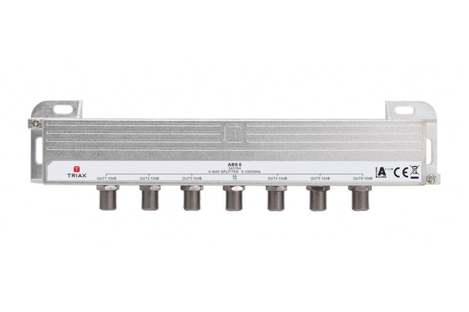 Triax High-End 6-vejs DOCSIS 3.1 antennefordeler i HF tæt klasse A+ kvalitet. Ideelt til din antenneinstallation hvor høj skærmning og lav dæmpning er ønsket.