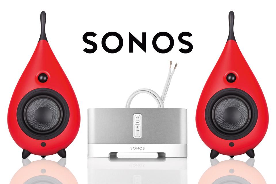 Lækkert Wi-Fi streaming stereoanlæg bestående af 2 stk. Drop højttalere og en SONOS Connect Amp forstærker, samt Supra højttalerkabel.