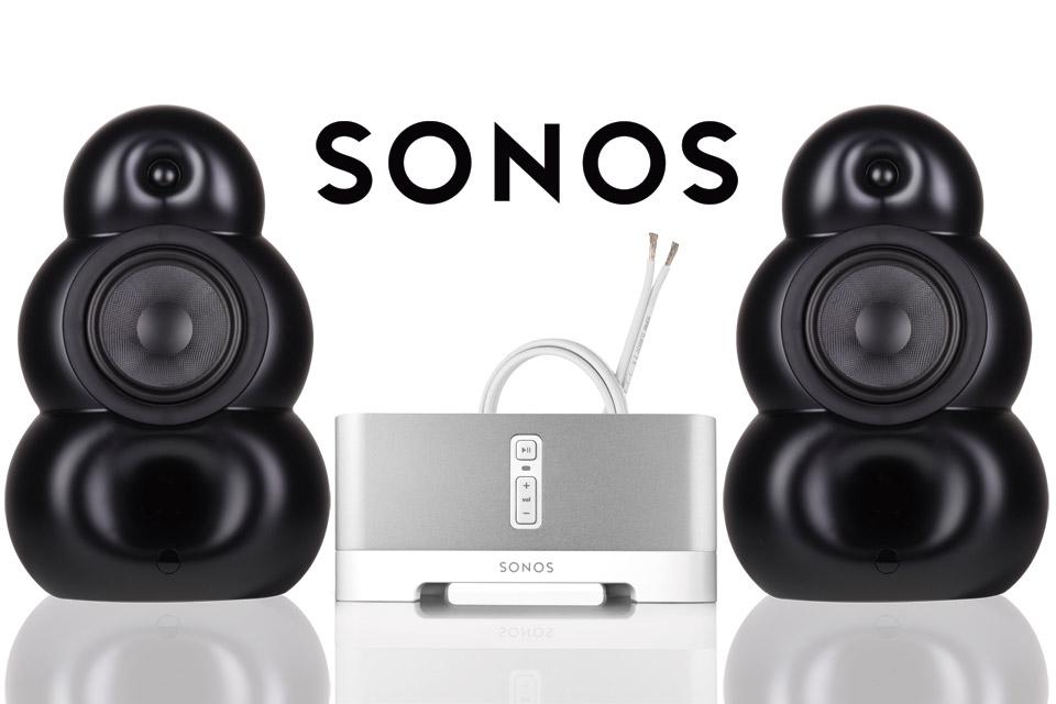 Wi-Fi streaming stereoanlæg bestående af de 2 store BigPod højttalere og en SONOS Connect Amp forstærker, samt Supra højttalerkabel.