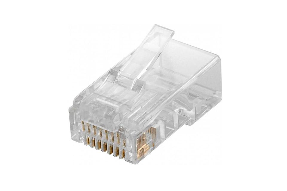 RJ45 uskærmet 8P8C modularstik til uskærmede runde kategory 5e netværkskabler, dog maksimalt AWG24 kabel. Kræver krimpudstyr for samling.
