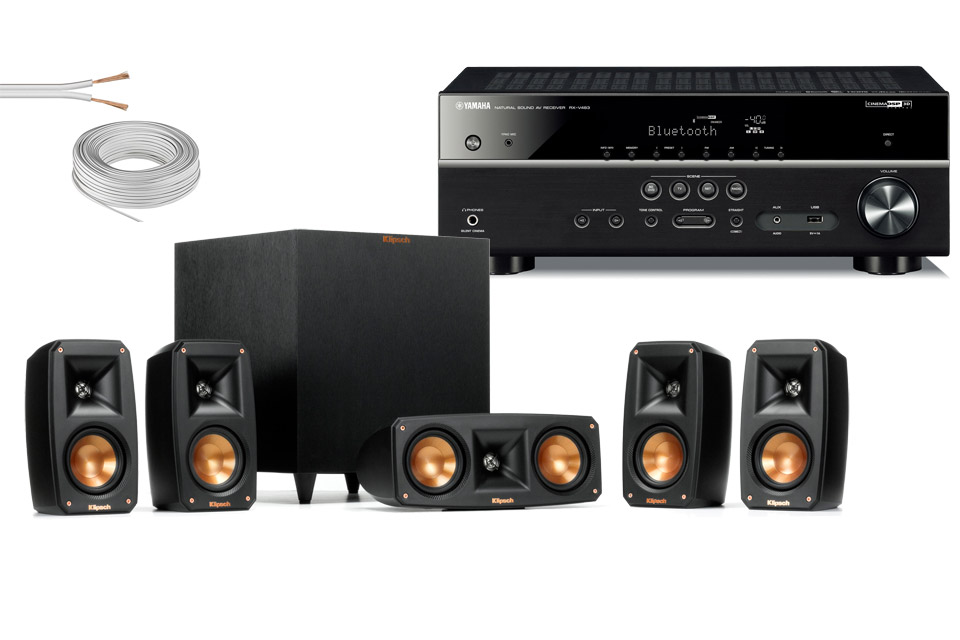 Klipsch Reference 5 1 hometheater pack incl  Yamaha reciever and cables