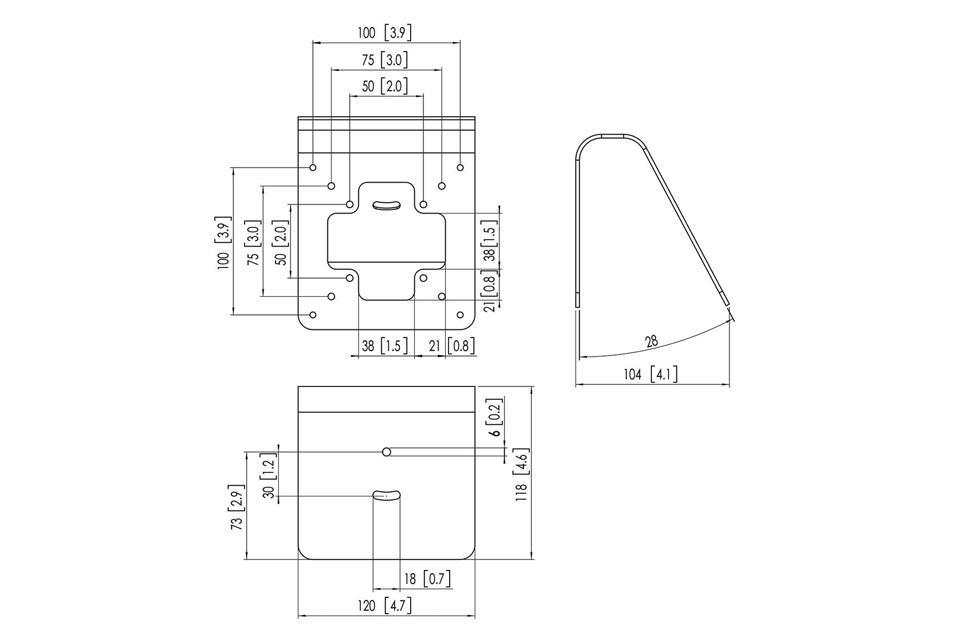 Vogels Pro 3103 tablet vægophæng/bordbeslag, mål