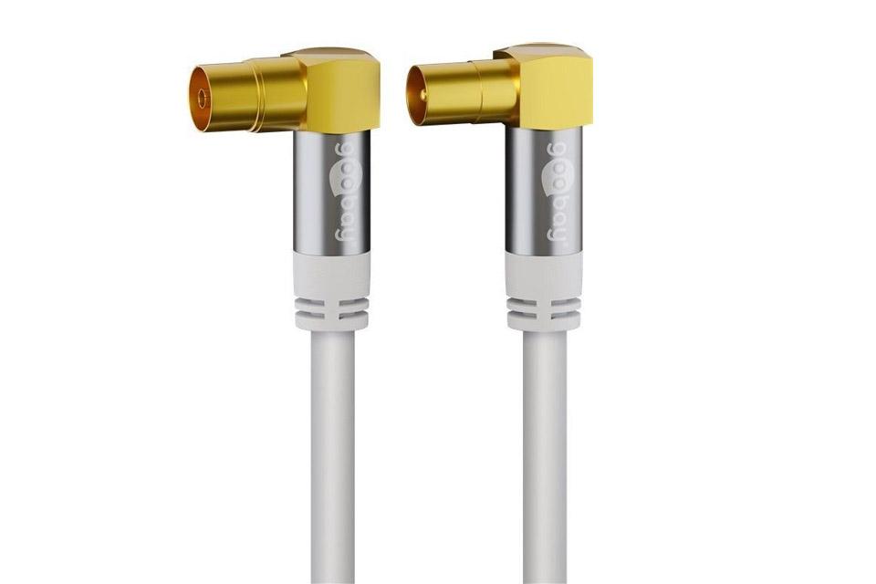 Goobay vinklet IEC antennekabel, hvid