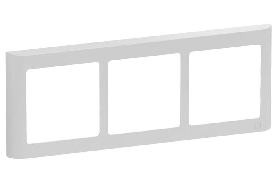 LK FUGA Softline Design ramme, 3x1 vandret modul, lysegrå