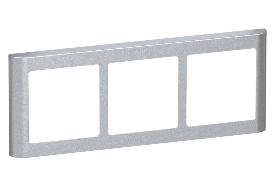 LK FUGA Softline Design ramme, 3x1 vandret modul, alu sølv