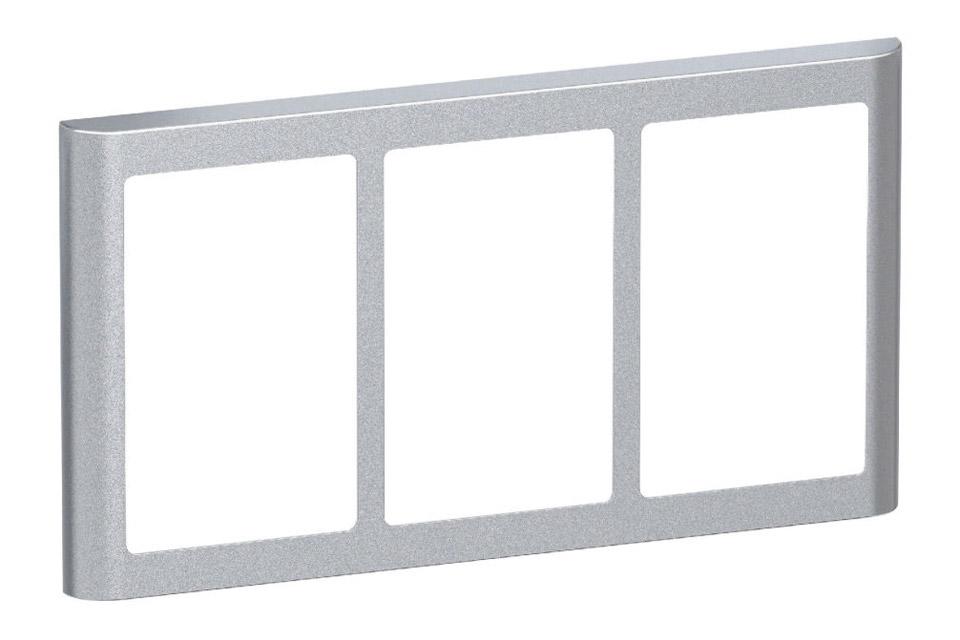 LK FUGA Softline designramme, 3x1,5 modul, alu sølv