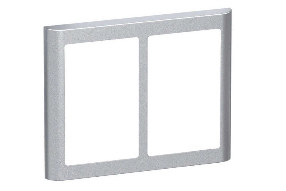 LK FUGA Softline Design ramme, 2x1,5 modul, alu sølv