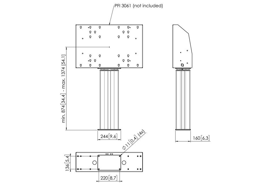 Vogels Pro PFI 3061 motoriseret stander, measures