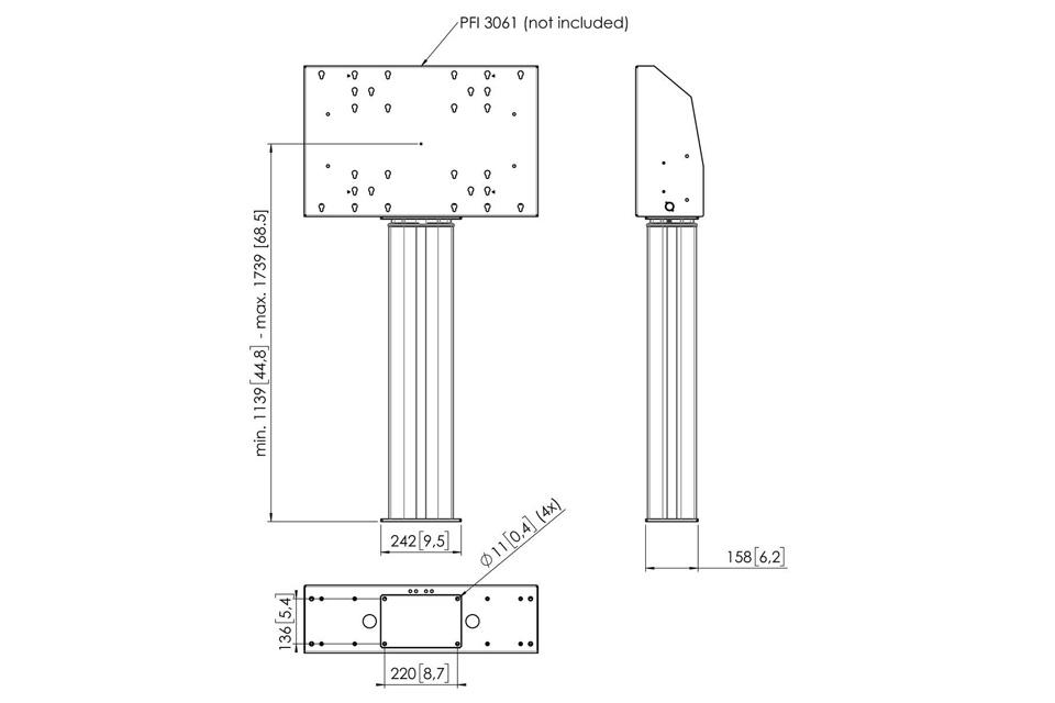Vogels Pro PFFE 7106 motoriseret skærmforhøjer 60 cm., measures