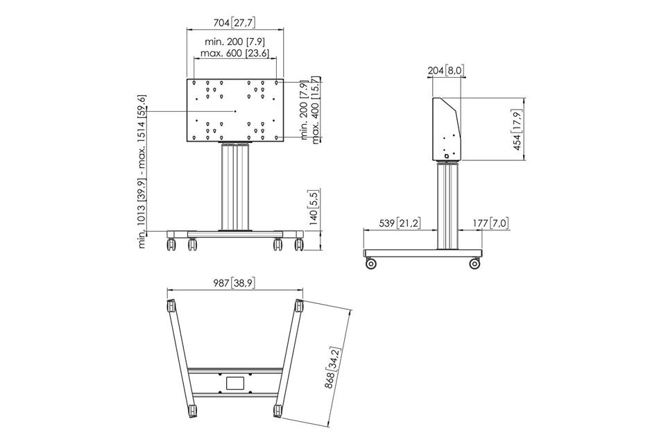 Vogels Pro motoriseret trolley stand, mål