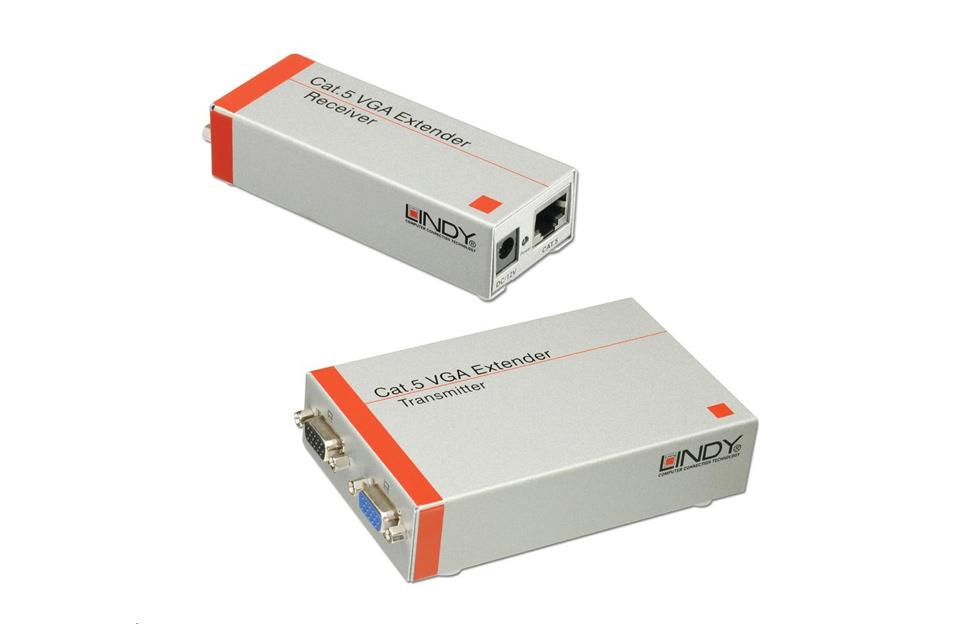 VGA/XGA monitor forlængersæt over Cat.5/6 op til 300m