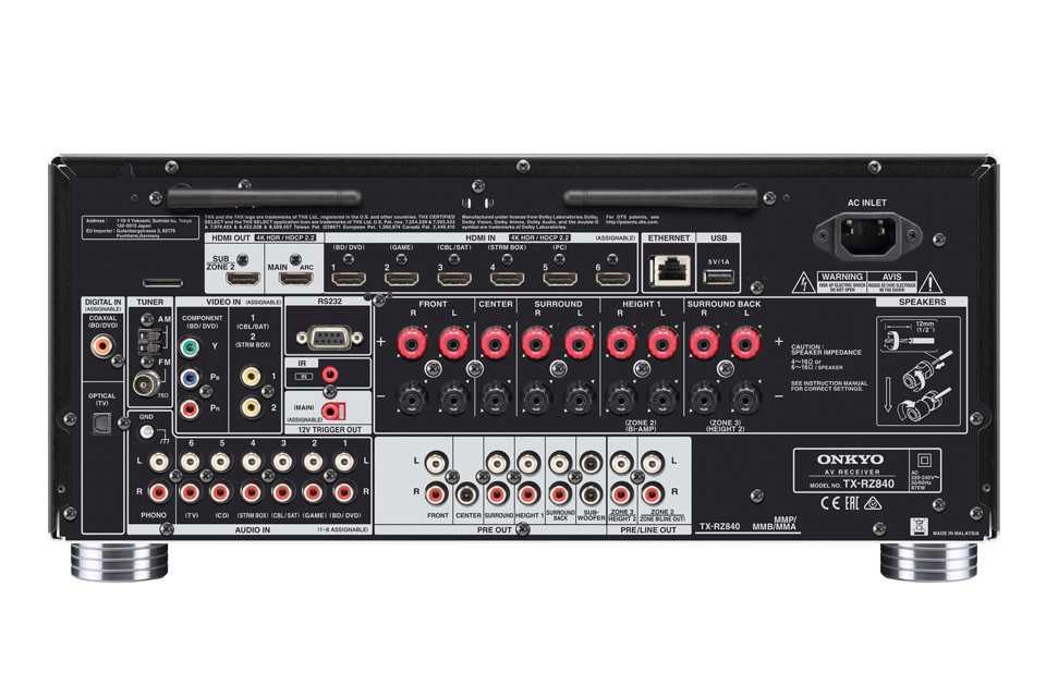 Onkyo TX-RZ840 surround receiver, rear