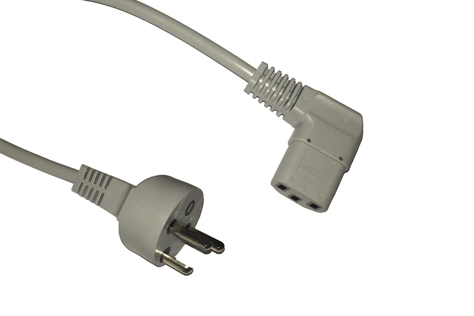 Apparat vinkel kabel m. lige EDB jordstik