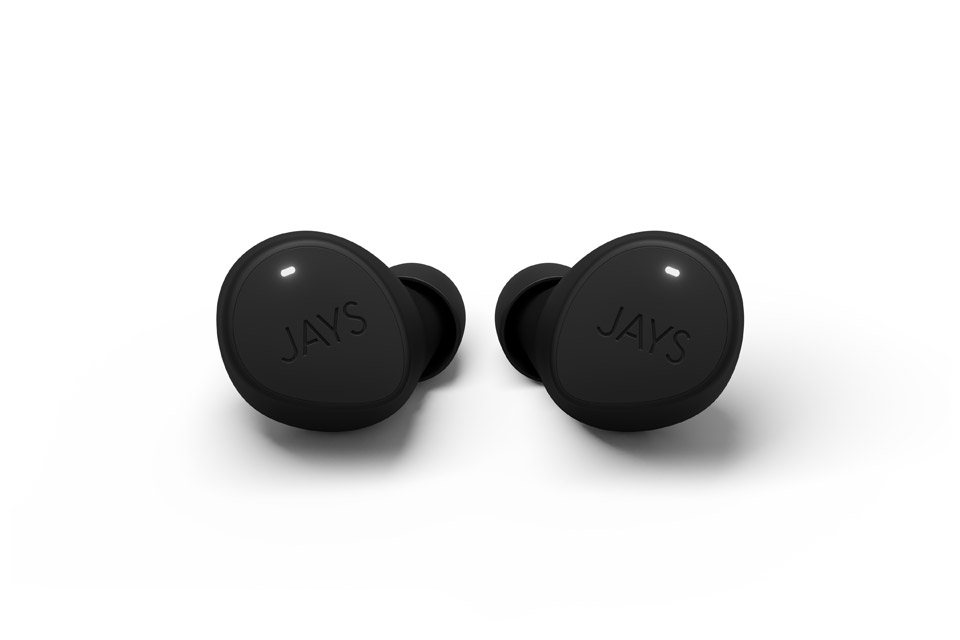 JAYS m-Seven True Wireless headphones, black on black