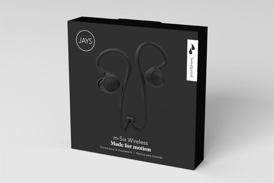 JAYS m-Six Wireless sport headphones, black/black