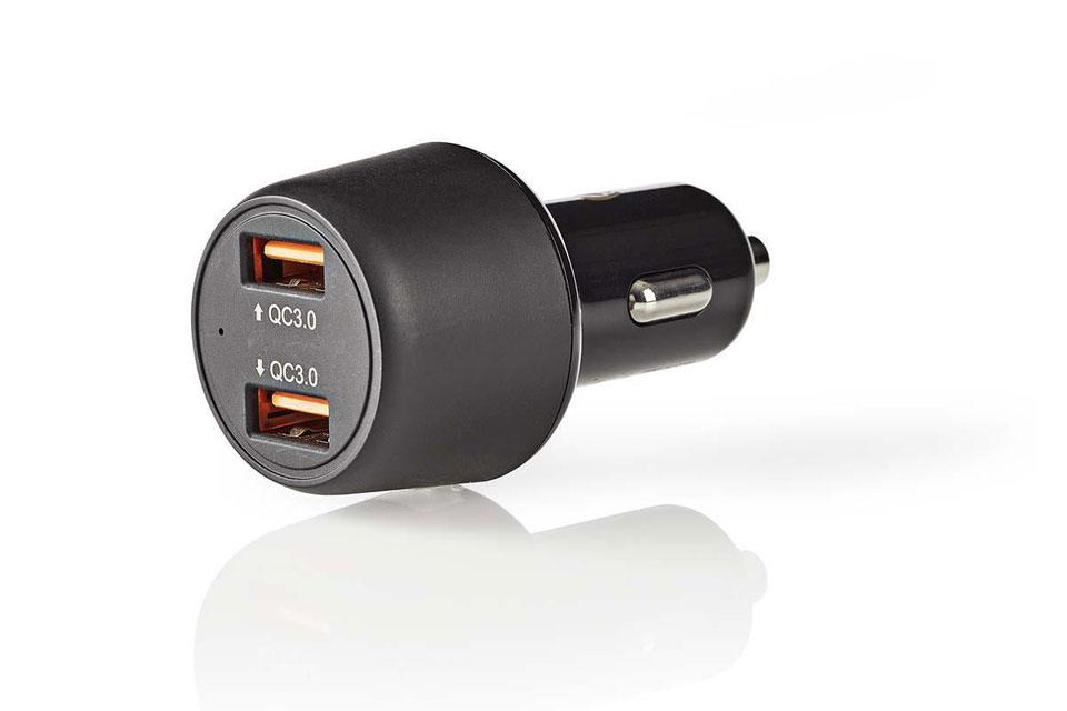 Nedis Dual QC 3.0 USB 12V car charger (3.000mA) - Black