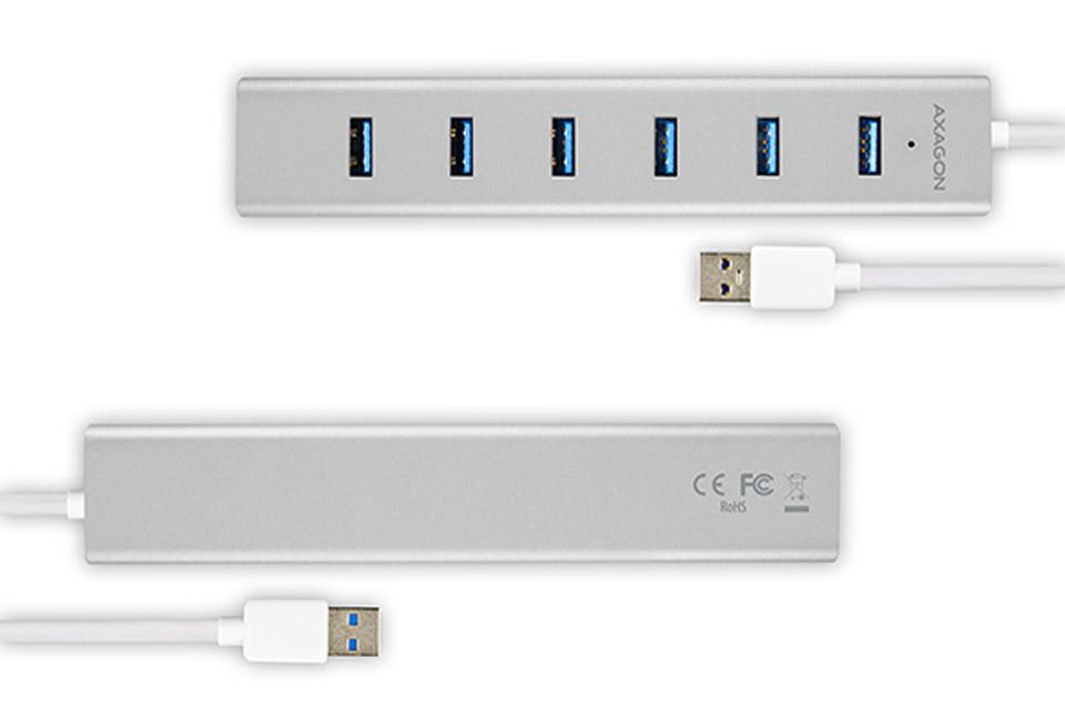 AXAGON USB-A 3.2 Gen 1 hub, 7 ports - Silver