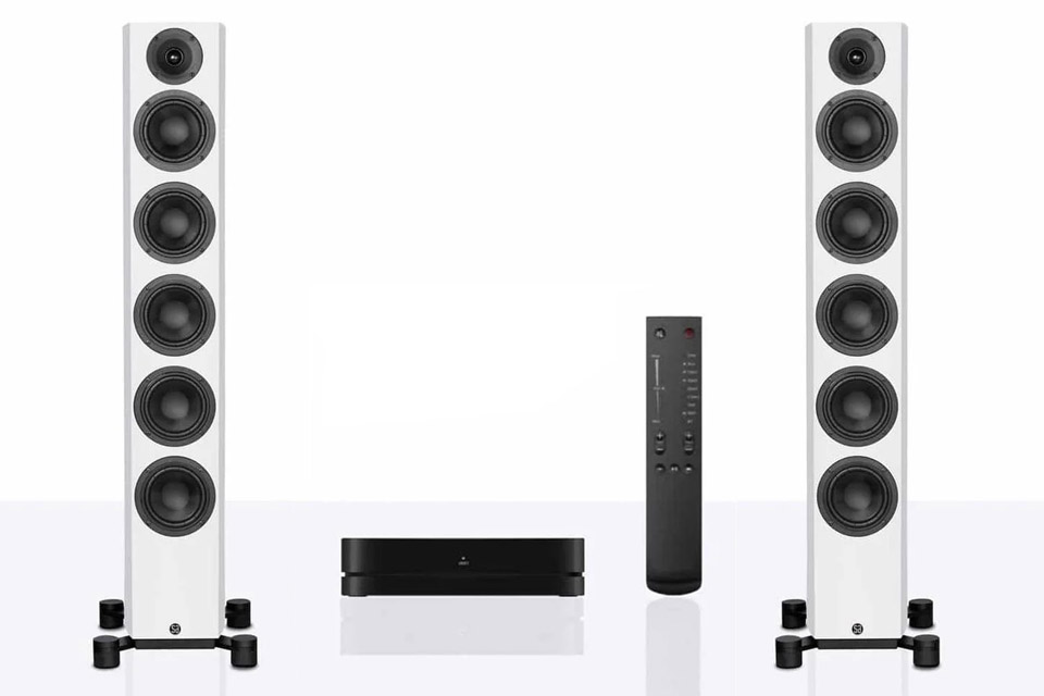 System Audio Legend 60 Silverback floorstanding speaker with hub and remote - White