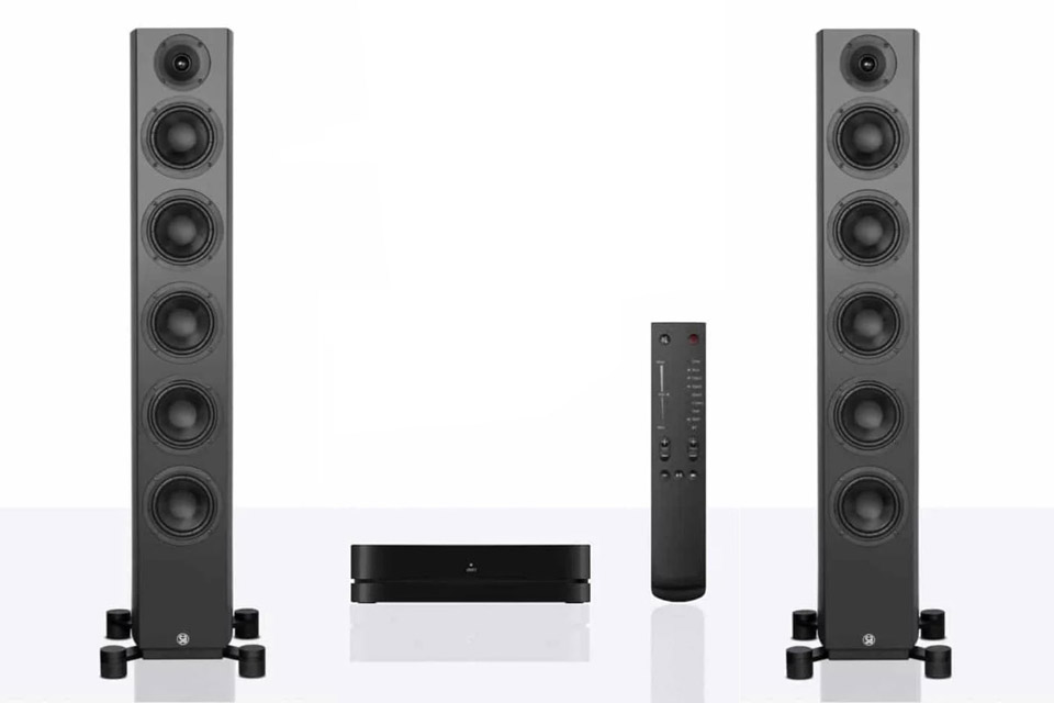 System Audio Legend 60 Silverback floorstanding speaker with hub and remote - Black