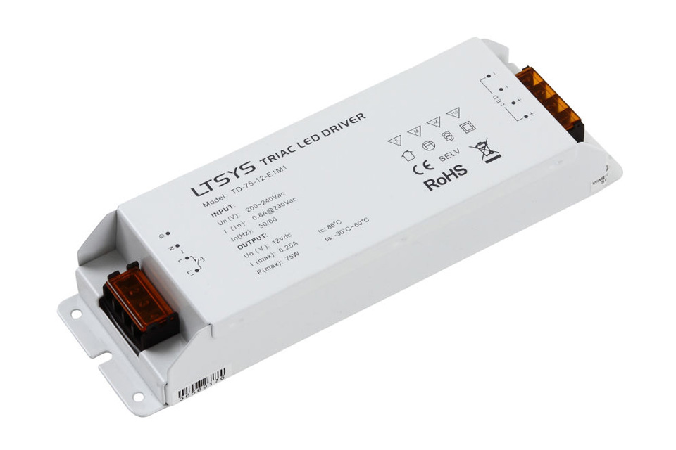 Triac LED driver 12V, 75W for kiptryk dæmpning