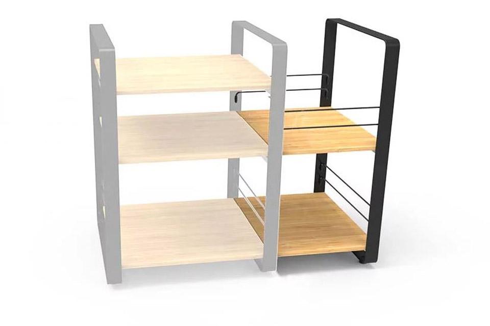 NorStone Loft Side ekstra module, 2 shelfs, bamboo/black chassis