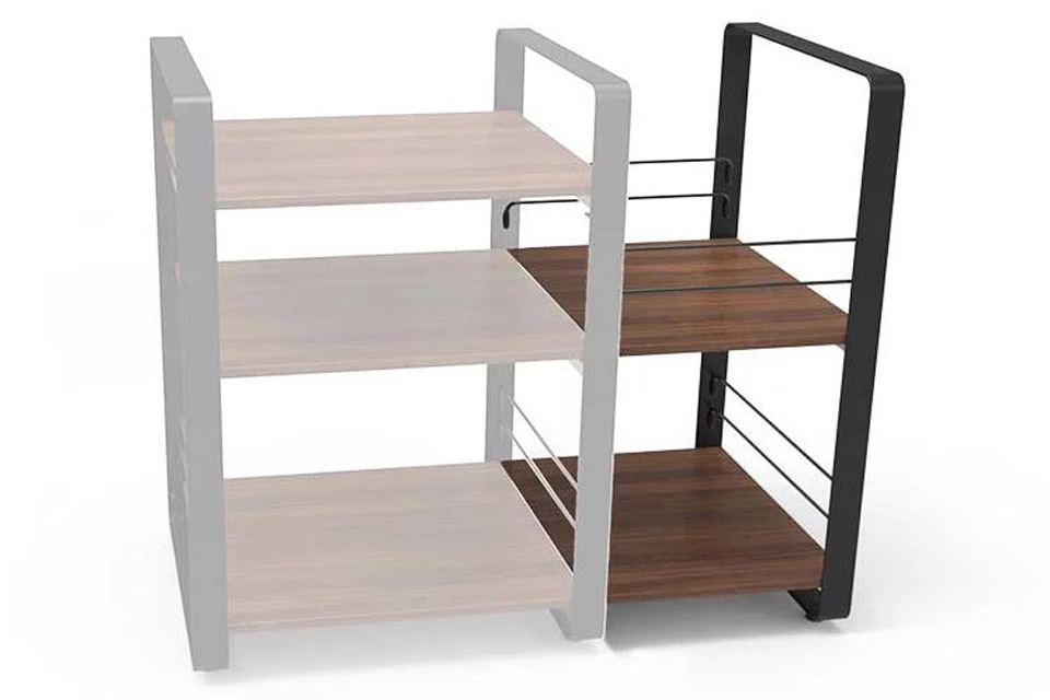 NorStone Loft Side ekstra module, 2 shelfs, walnut/black chassis