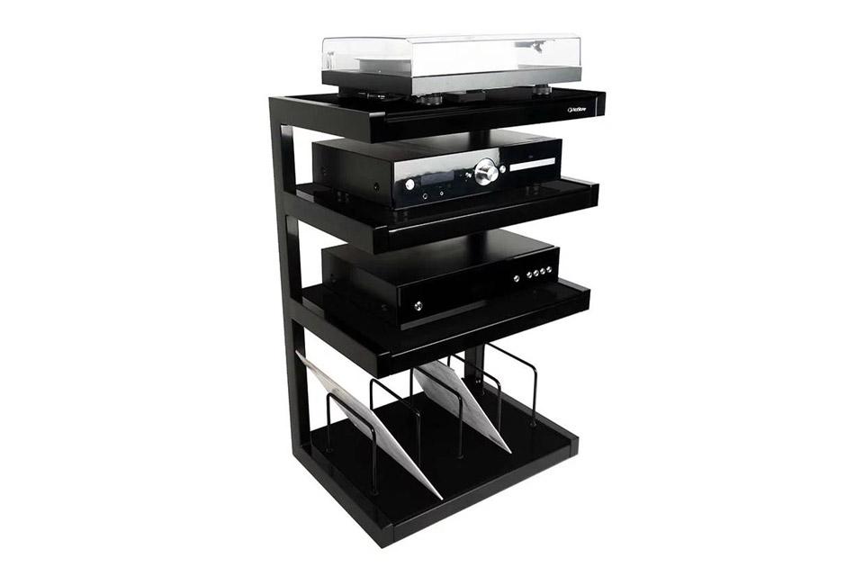 NorStone ESSE HIFI Vinyl base module, 4 shelfs - Black Lifestyle