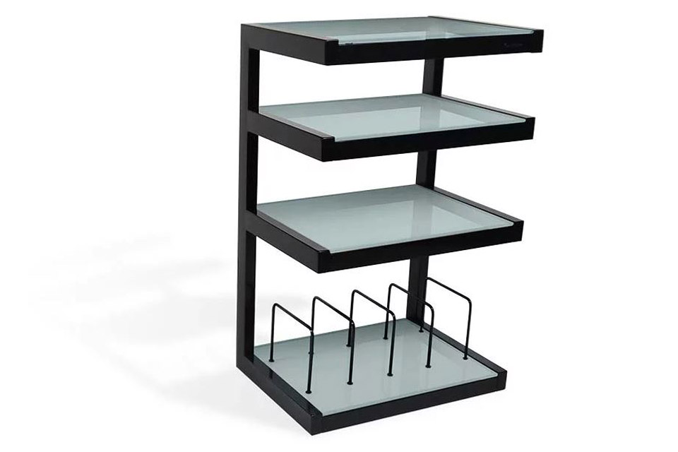 NorStone ESSE HIFI Vinyl base module, 4 shelfs - Black Frosted Glass