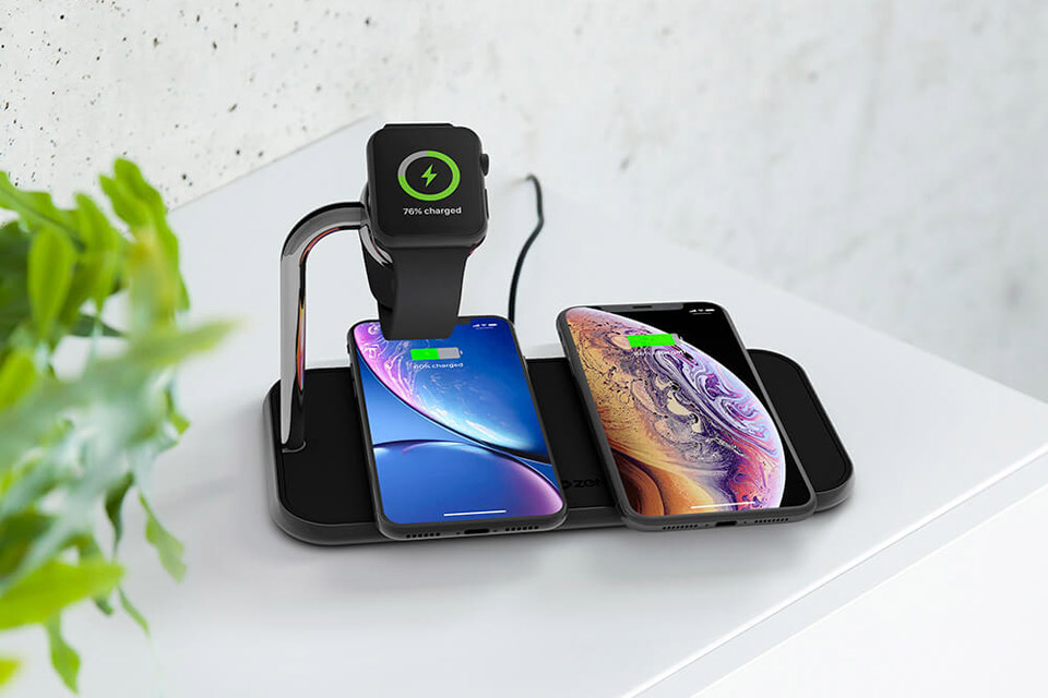 ZENS triple wireless Qi and Apple Watch charger 2x10W - Lifestyle