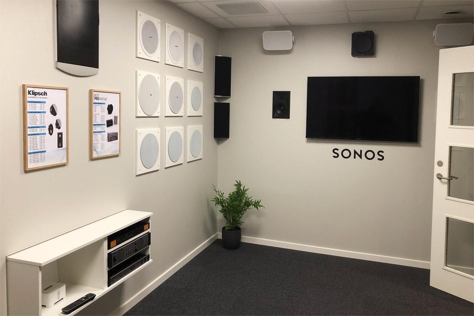 , AV-Connection Sønderborg Showroom 7: Installation audio (in-wall/on-wall)