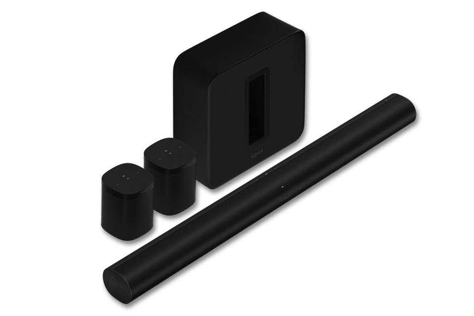 Sonos ARC, SUB og ONE SL 5.1.2 system, sort