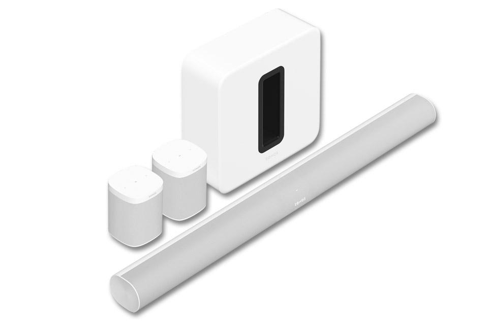 Sonos ARC, SUB og ONE SL 5.1.2 system, hvid