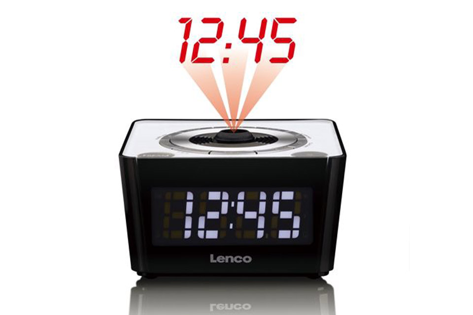 Lenco CR-16 FM clockradio with projector - White with light