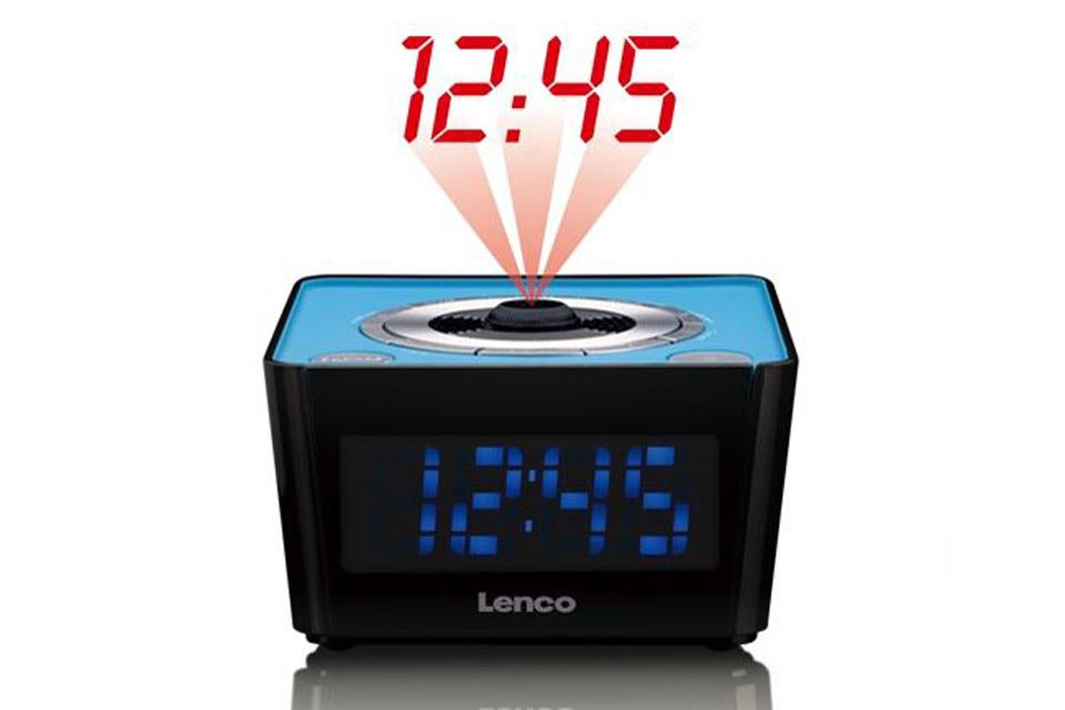 Lenco CR-16 FM clockradio with projector - Blue with light