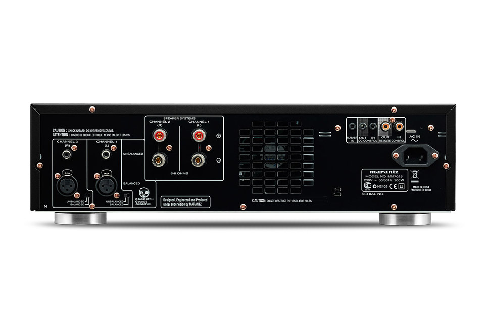 Marantz MM7025 amplifier, rear
