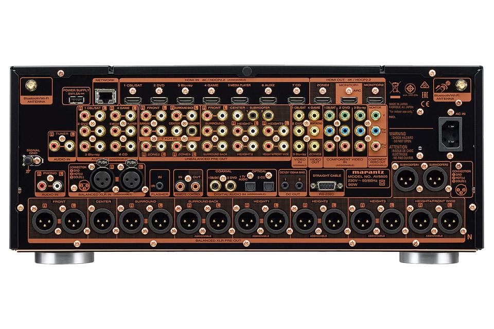 Marantz AV8805 surround processor, rear