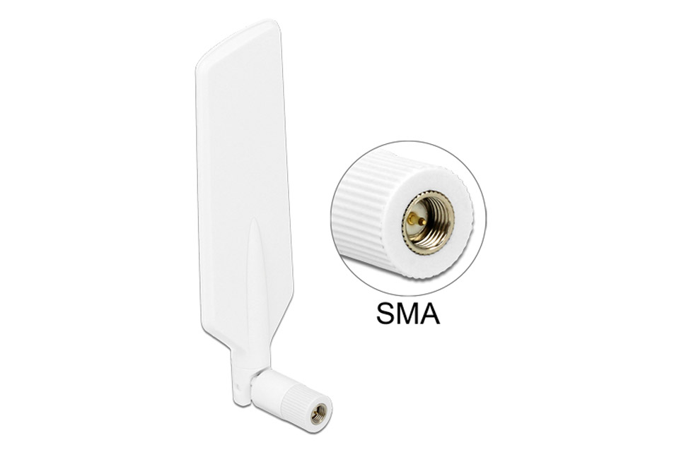 DeLock indoor LTE WLAN Dualband antenna (SMA - 4 dBi) - White