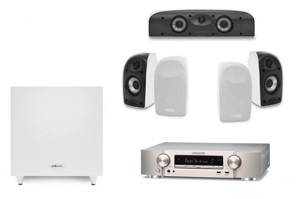 Polk Audio and Marantz 5.1 surround speaker system - White/silver