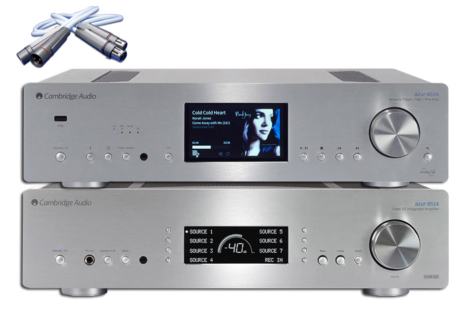 Cambridge Audio Azur 851A + 851N stereo system, silver