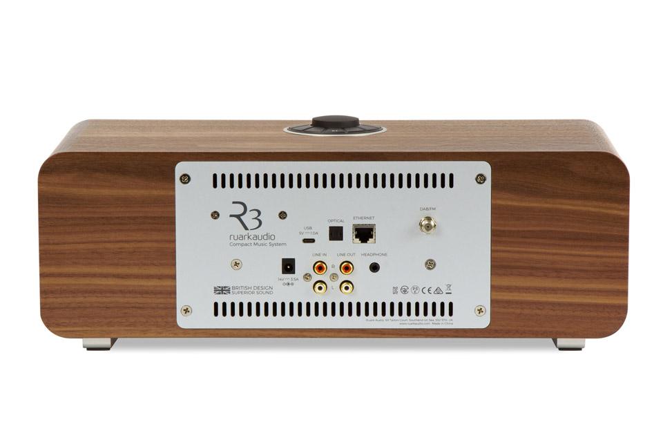 Ruark Audio R3 music system table top FM/DAB+ internet radio with bluetooth - Walnut back