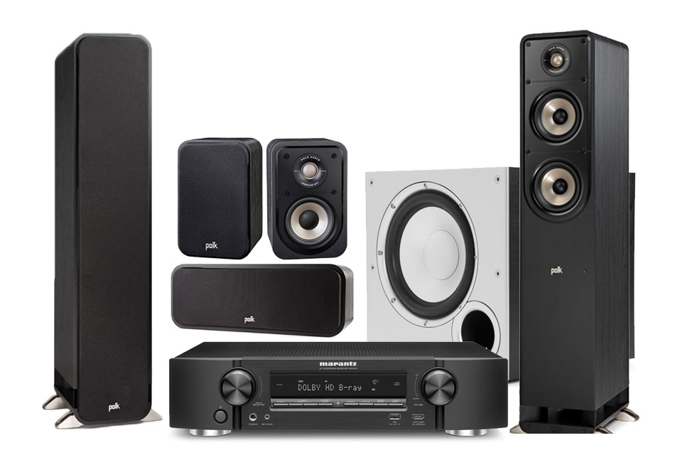 Polk audio 5.1 speaker set incl. Marantz NR1510, black