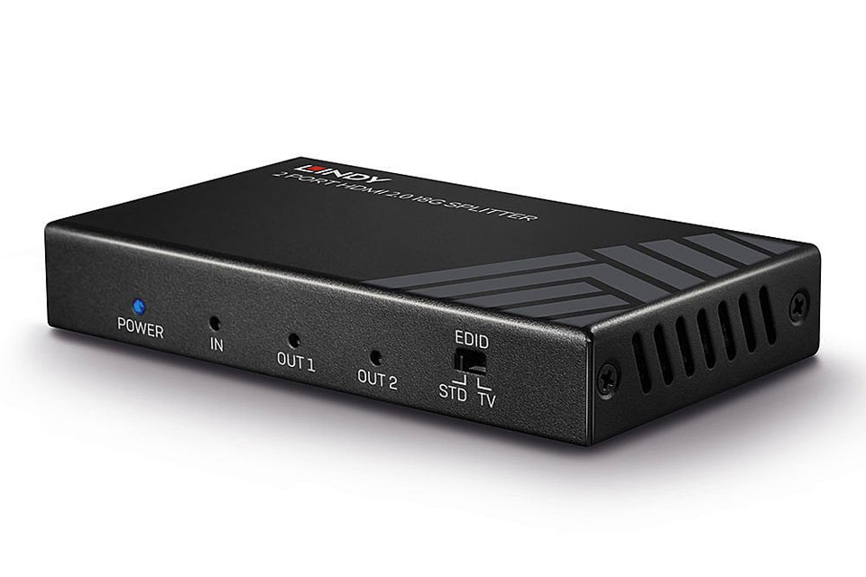 Lindy 2 Port HDMI 2.0 18G Splitter with HDR - Front