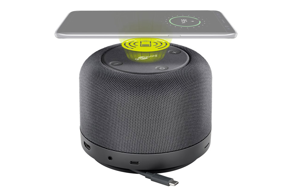Goobay USB-C multiport dock with a speaker, Qi, and PD -  Qi