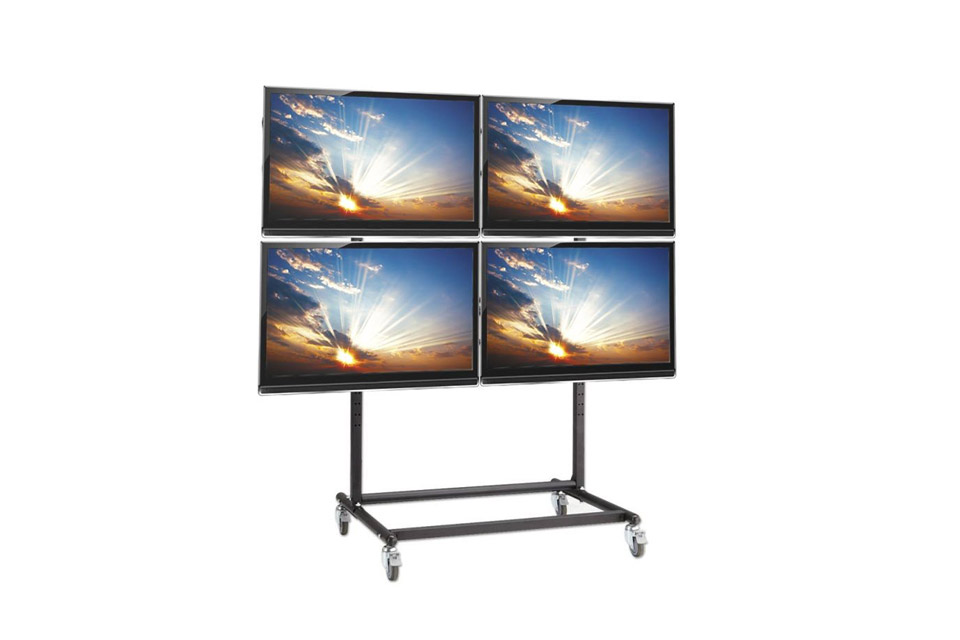 Lindy quad trolley stand for video wall - Lifestyle