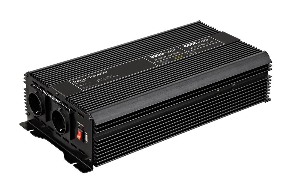 12V - 230V~ Power inverter, Schuko, 3000W