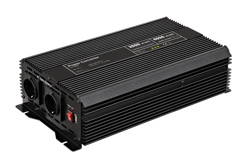 12V - 230V~ Power inverter, Schuko, 2000W