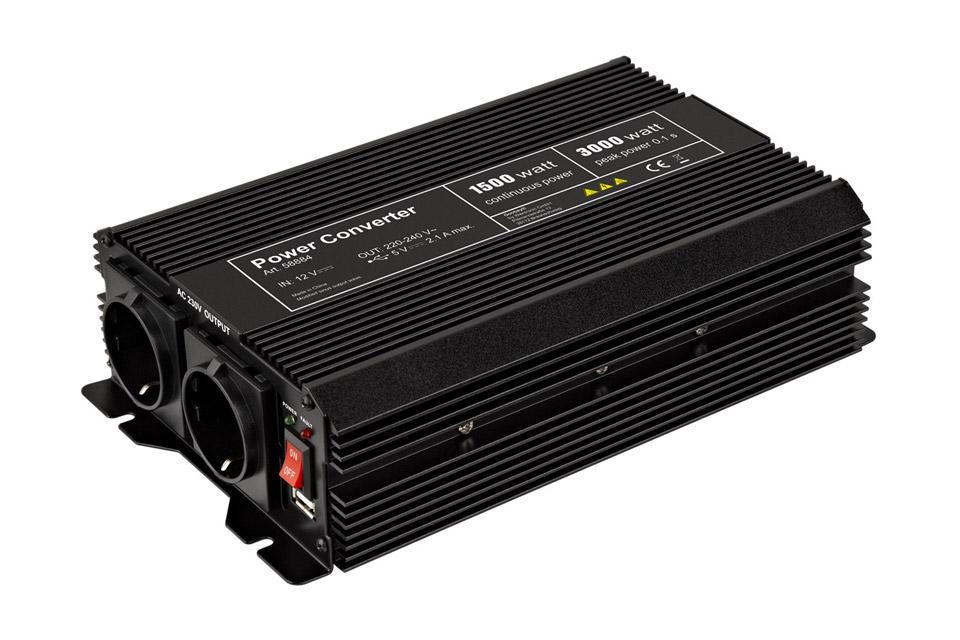 12V - 230V~ Power inverter, Schuko, 1500W